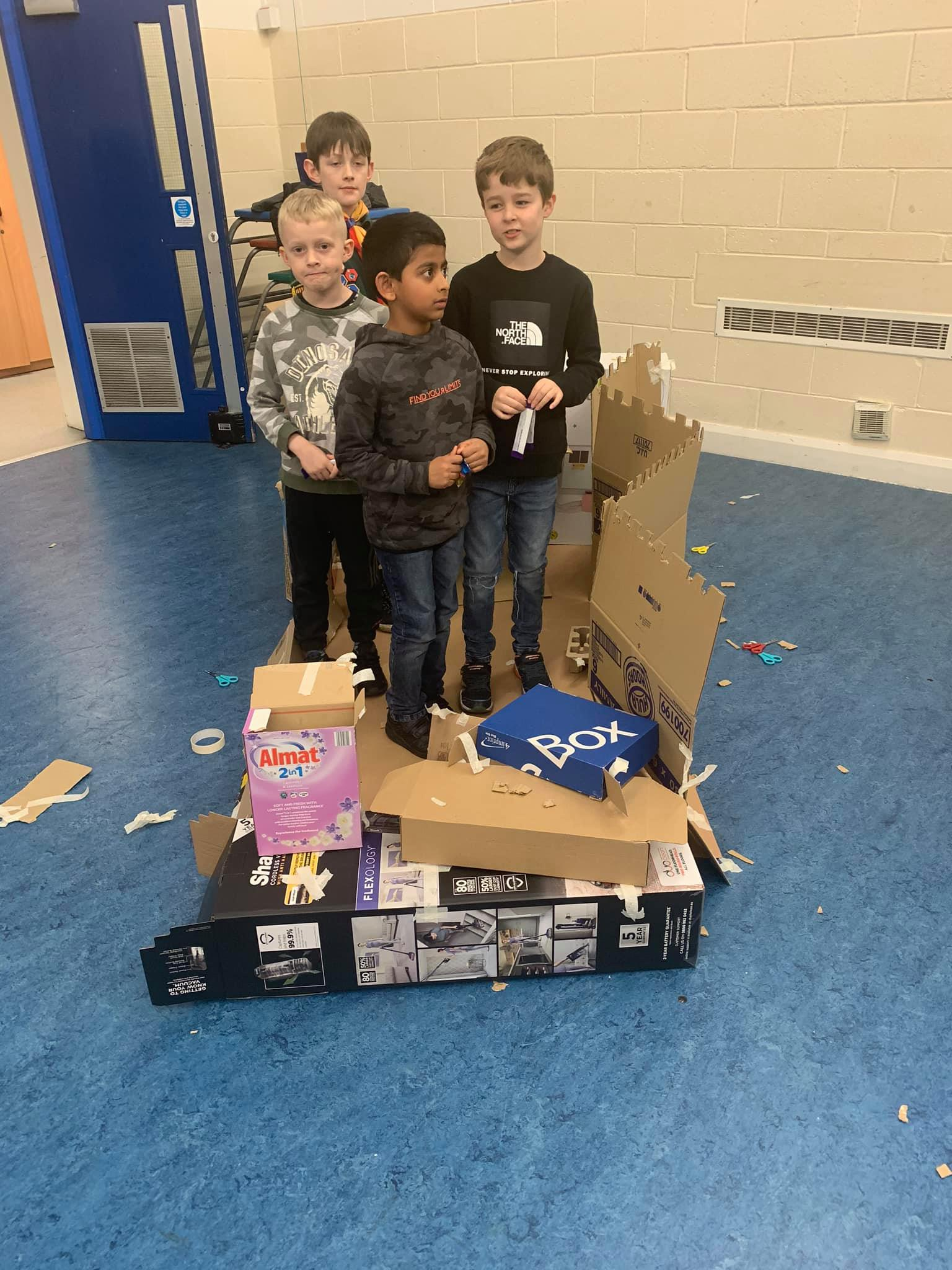 Cubs Build Box Forts